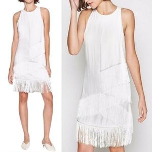 Joie Amiyah Flapper Gatsby Dress w Fringe White 4